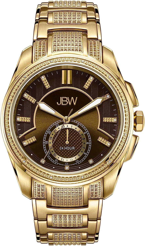 JBW Luxury Men s Prince J6371 0.23 ctw Diamond Wrist Watch with Stainless Steel Bracelet