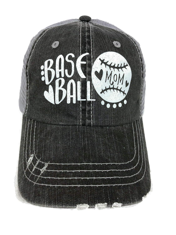 55513987e Glitter Baseball Mom Heart Distressed Look Grey Trucker Baseball Cap Sports