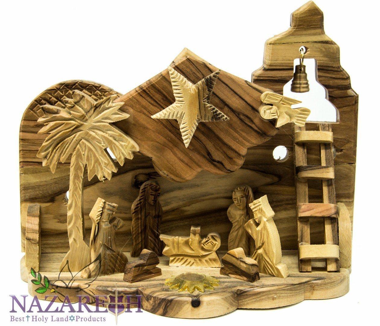 Bethlehem Star Nativity With Holy Dirt Hand Carved Olive Wood Set Holy Land 8''