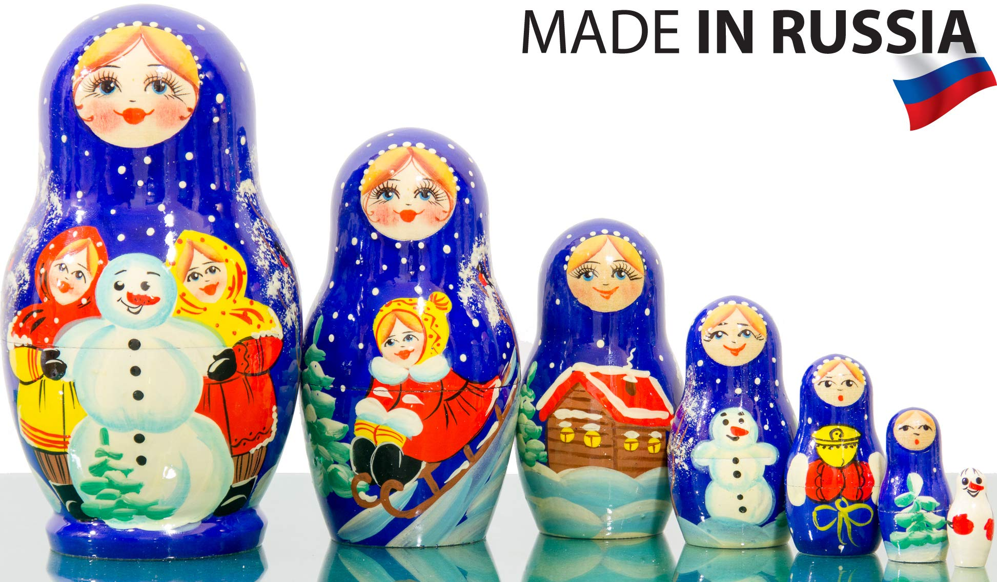 Russian Nesting Doll Dolls - Hand Painted in Russia - 5 Color/Size Variations - Traditional Matryoshka Babushka (4.75``(7 Dolls in 1), Floral B) by craftsfromrussia