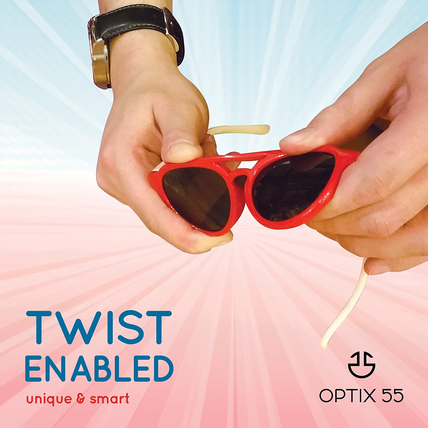 Red Frame /& Black Temple#113 Kids Flexible Rubber Sunglasses-UV Protection and Polarized Lenses for Boys and Girls