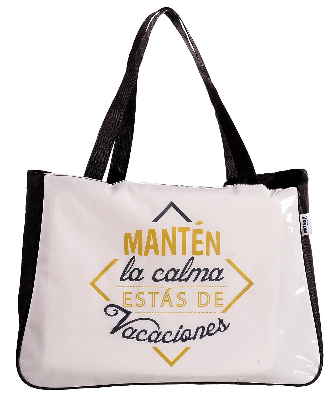 Juinsa Frases Calma Bolsa de Tela y de Playa, 41 cm, Blanco ...