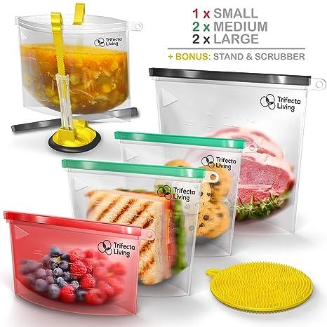 TRIFECTA LIVING Reusable Silicone Food Bag | (Set of 7) 5 Bags + Reusable  Ziploc Bags Holder + Scrubber | Dishwasher Safe | Reusable Freezer Bags |