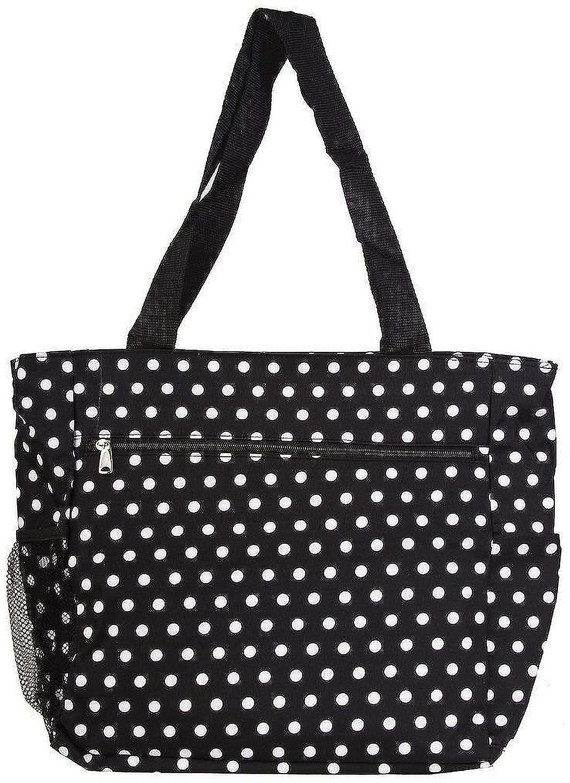 womens large polka dot beach tote weekender school gym travel bag black white. Black Bedroom Furniture Sets. Home Design Ideas
