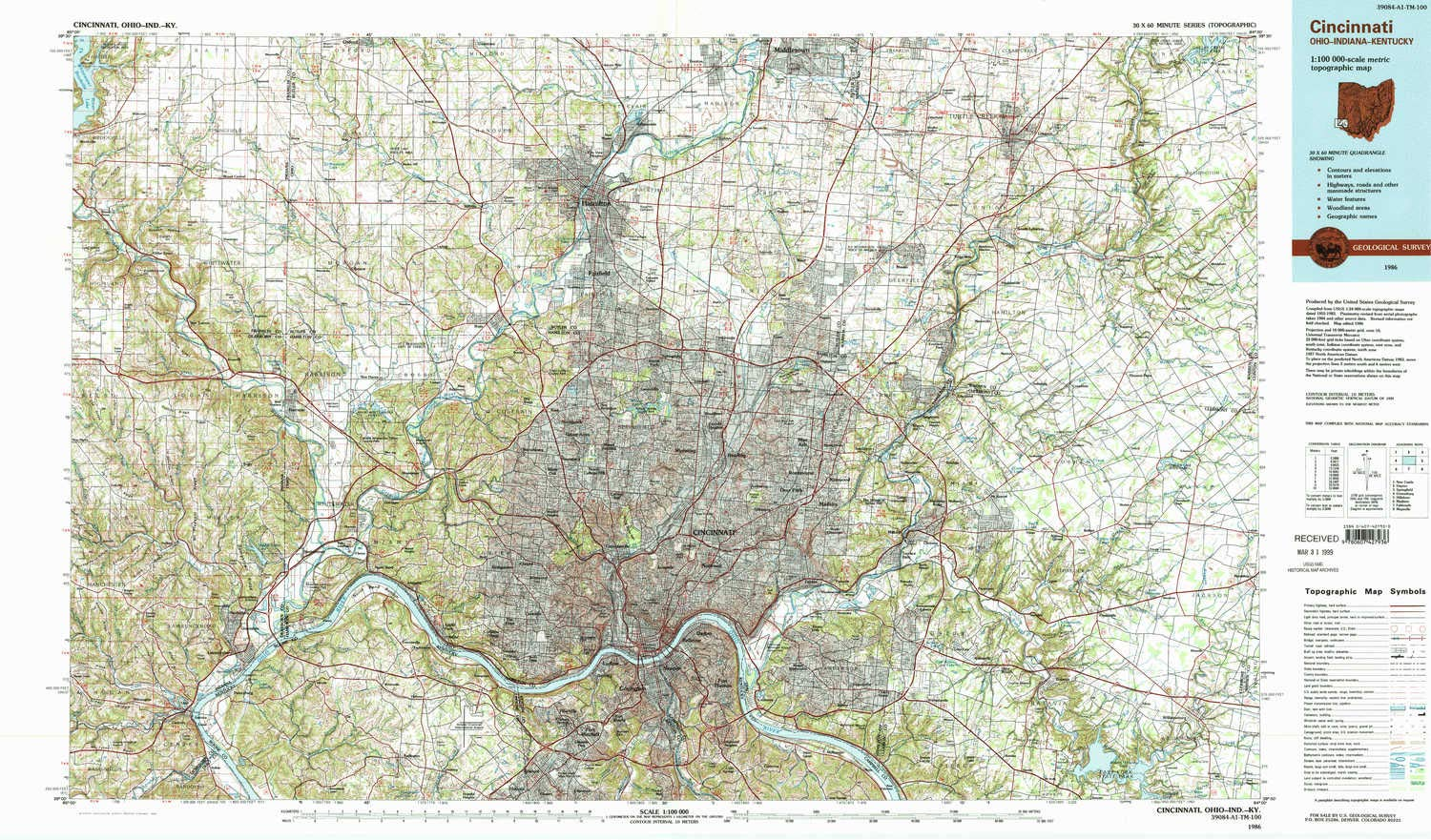Amazon Com Yellowmaps Cincinnati Oh Topo Map 1 100000 Scale 30 X