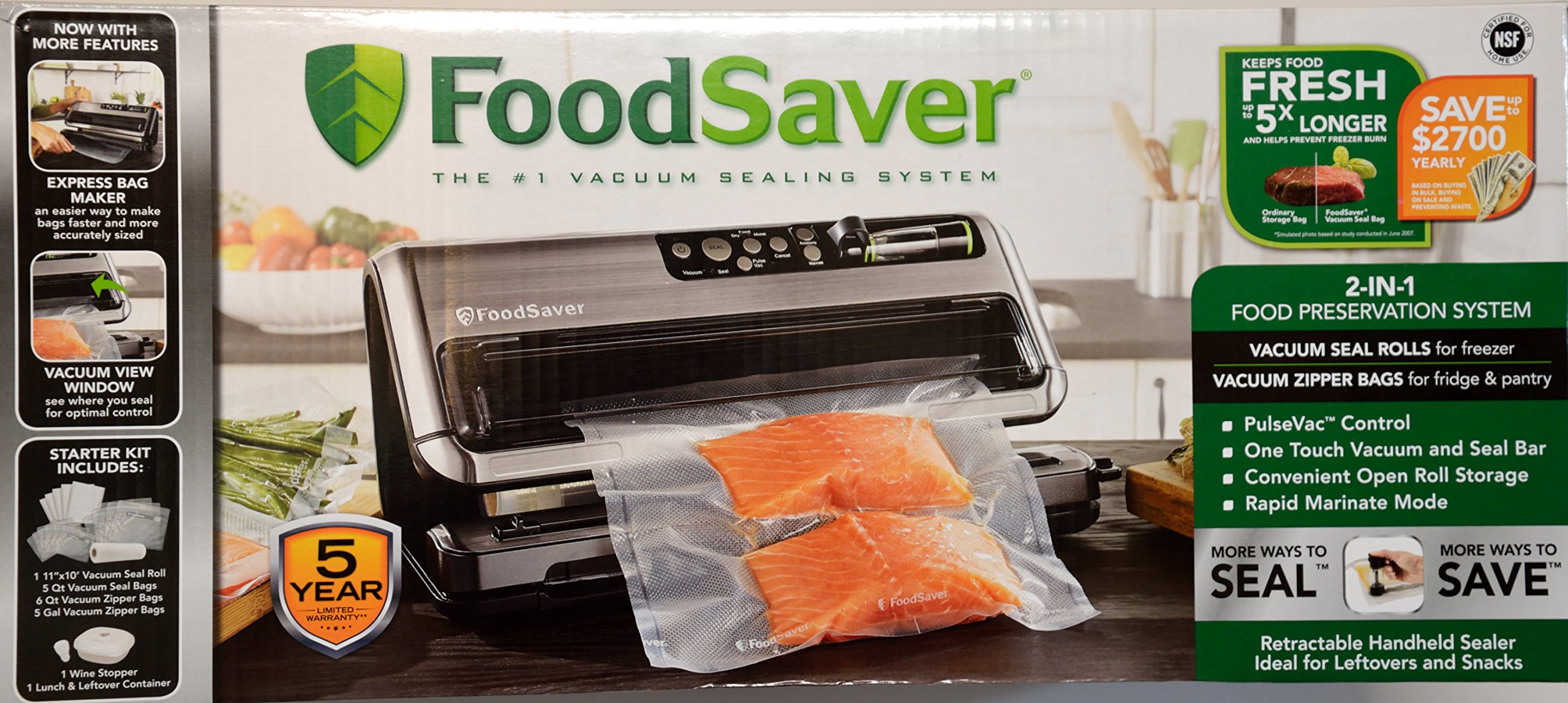 FoodSaver 1 2-in-1 Vacuum Sealing System with Starter Kit, reg, Silver by FoodSaver