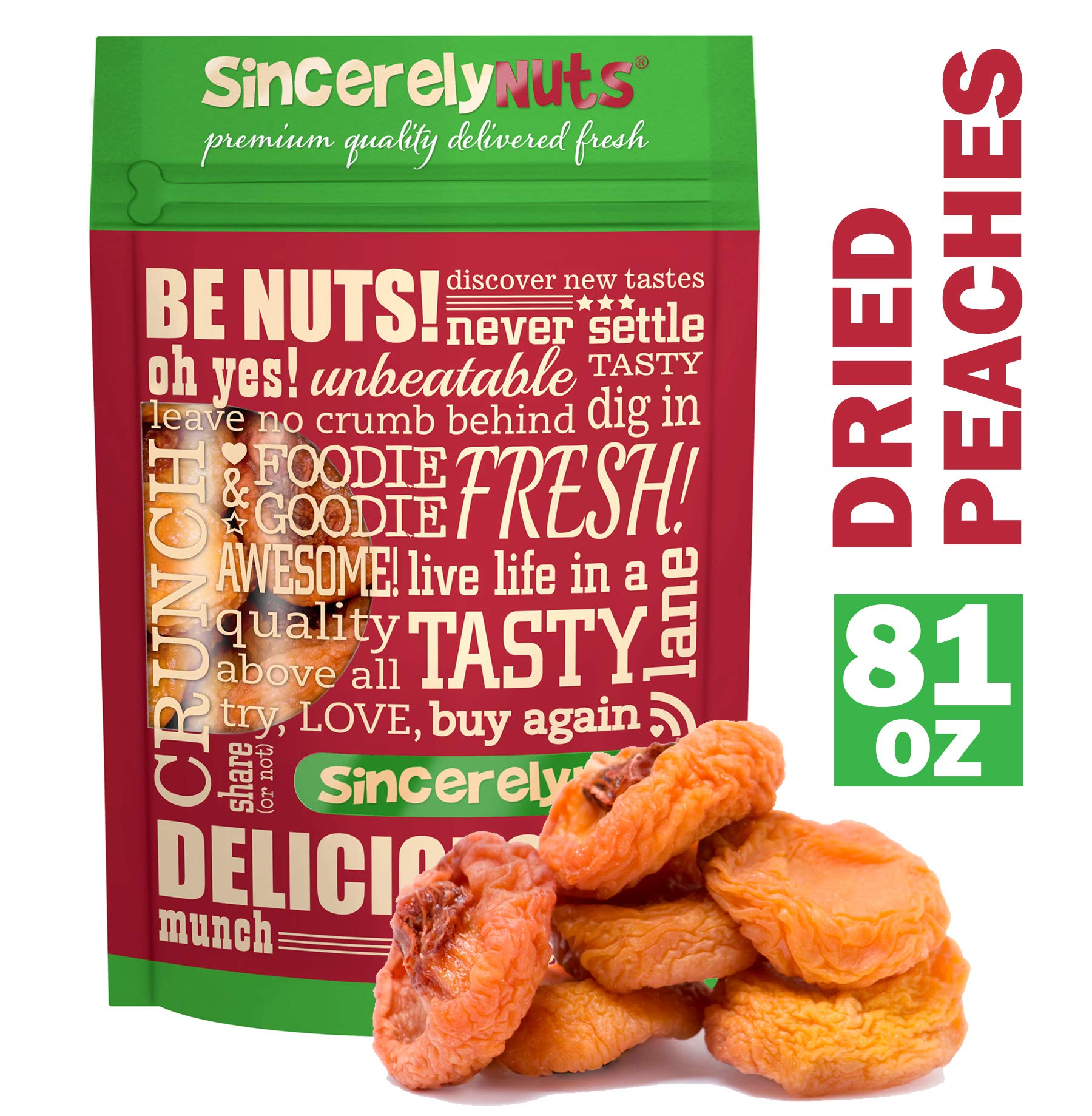 Sincerely Nuts Dried Peaches (5 LB) Vitamin C-Rich Snack - Classic Favorite for the Whole Family - Vegan & Kosher by Sincerely Nuts