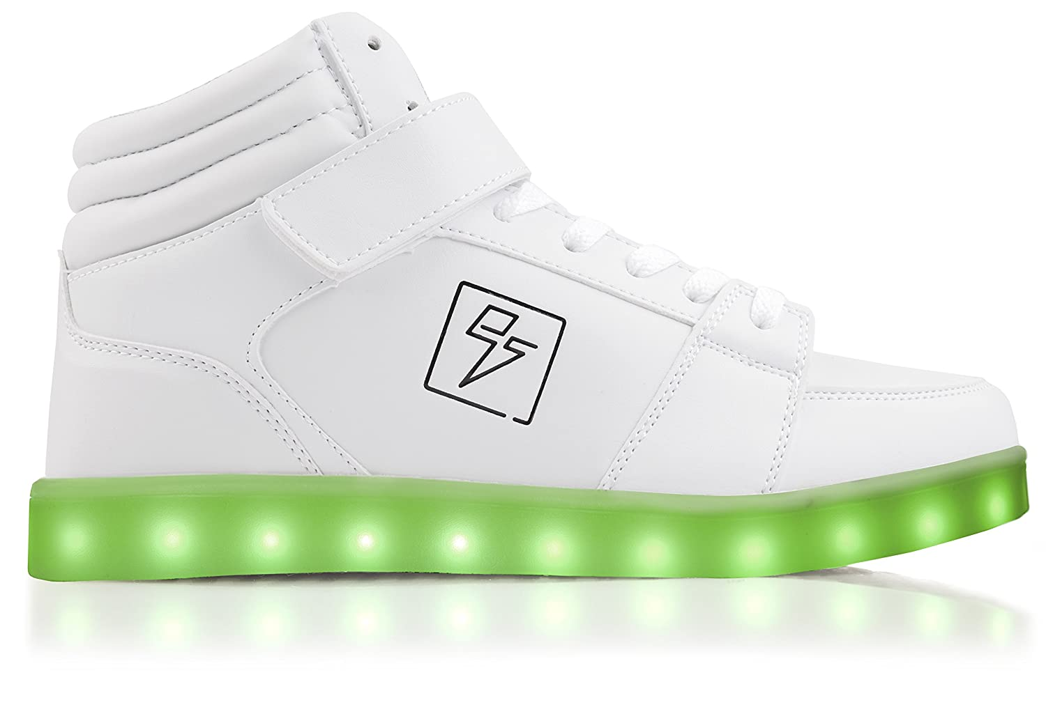 Electric Styles Light up Shoes - High Tops by B017V9L03S 6 B(M) US Women / 4 D(M) US Men|White