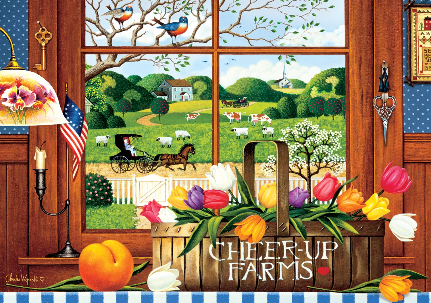 Buffalo Games A Peach of a Day by Charles Wysocki Jigsaw Puzzle (300 Piece) Large