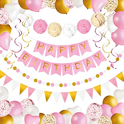 Verjaardag Feest Versiering Voor Meisjes En Vrouwen Happy Birthday Banner Pompons Ballonnen Confetti Ballonnen Vlaggen Slinger En Spiralen Decoratie Party Set Goud Wit En Roze 69 Stuks Amazon Nl Speelgoed Spellen