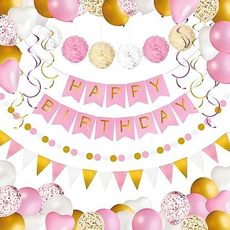 Decoración de Cumpleaños para Niña y Mujer - Paquete de 69: Banner ...