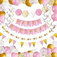 Verjaardag Feest Versiering voor Meisjes en Vrouwen | Happy Birthday Banner, Pompons, Ballonnen, Confetti Ballonnen…