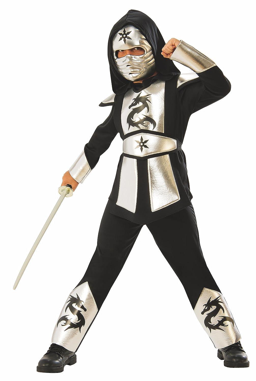 Rubies - Disfraz ninja dragon silver para niño, infantil 5-6 años (Rubies 641142-M)