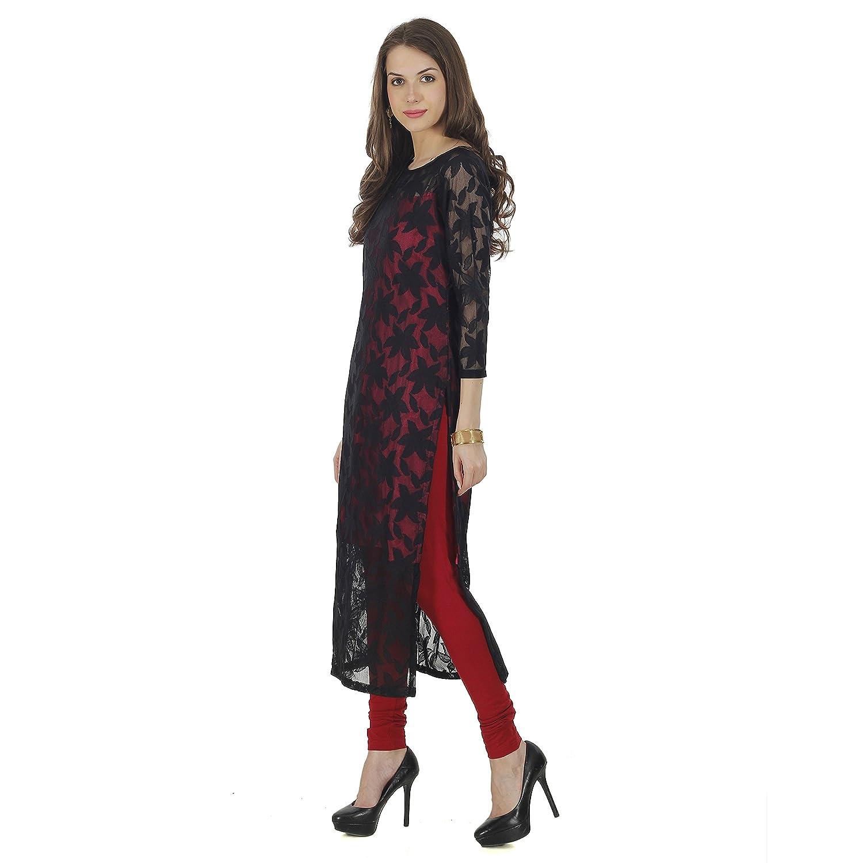 5b78f83b7 The Bebo Red   Black Pure Nylon Net Straight Elegant Kurti for Womens    Girls  Amazon.in  Clothing   Accessories
