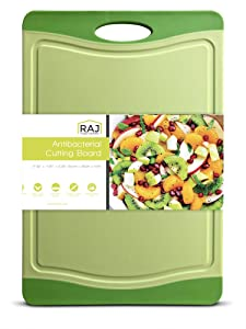"""Raj Plastic Cutting Board Reversible Cutting board, Dishwasher Safe, Chopping Boards, Juice Groove, Large Handle, Non-Slip, BPA Free, FDA Approved (18"""", Lime with Green border)"""