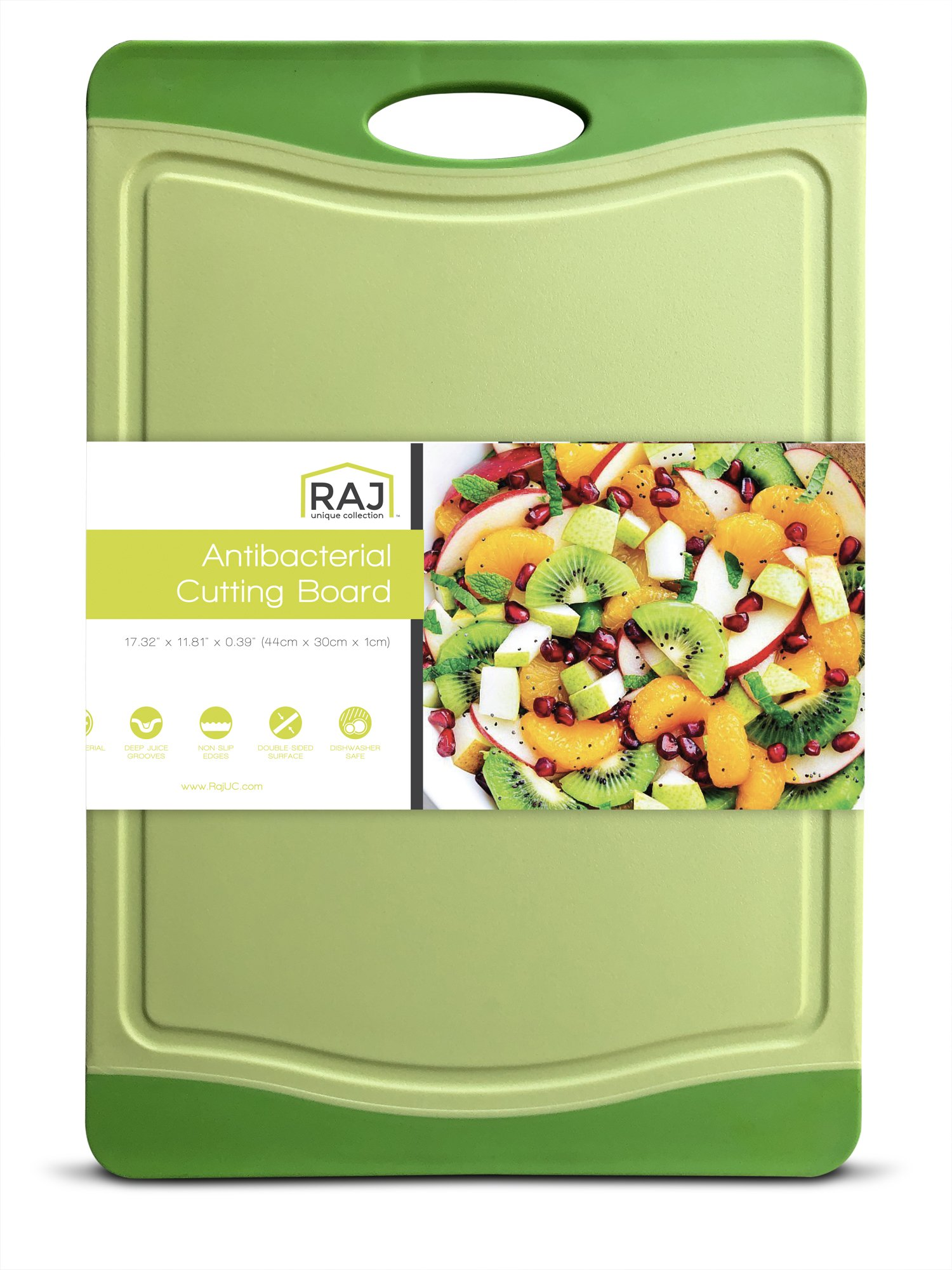Raj Plastic Cutting Board Reversible Cutting board, Dishwasher Safe, Chopping Boards, Juice Groove, Large Handle, Non-Slip, BPA Free, FDA Approved (18'', White/Green)