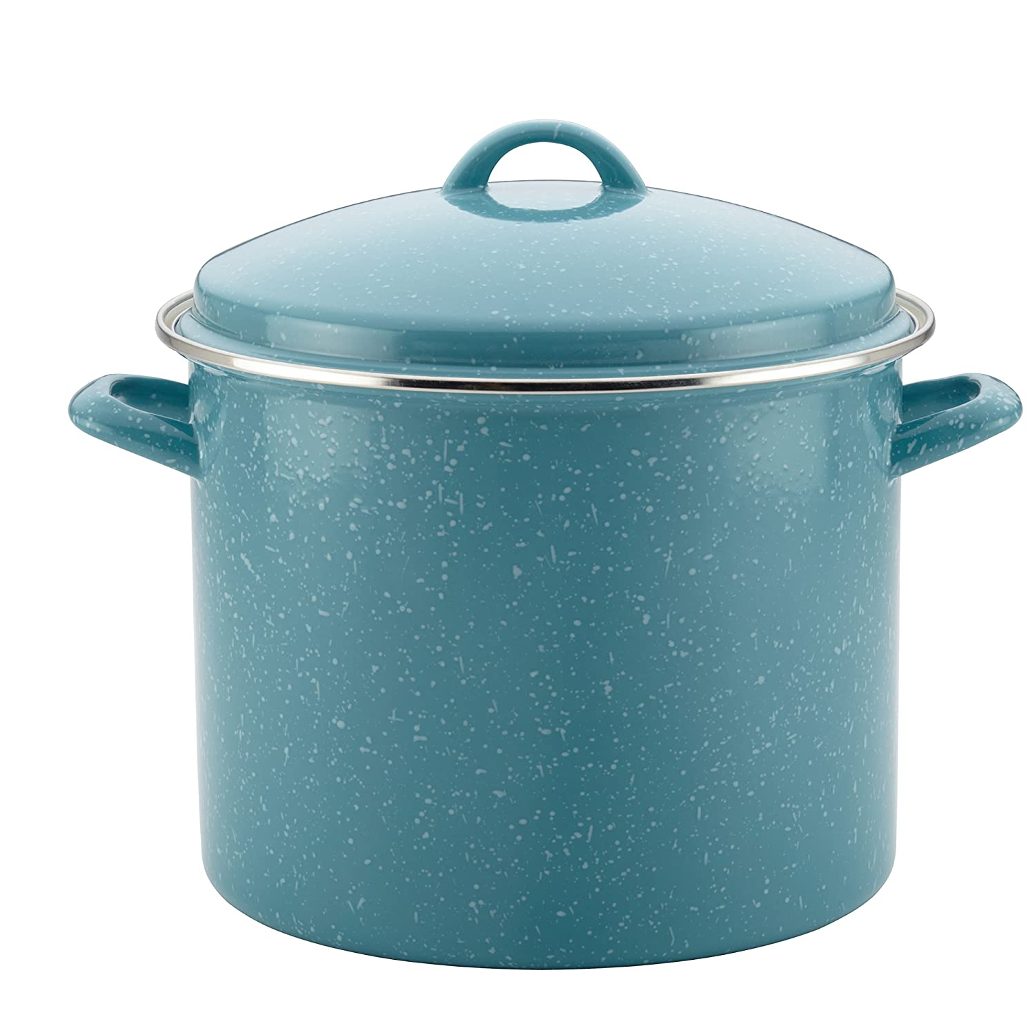 Paula Deen Enamel on Steel 12-Quart Covered Stockpot, Gulf Blue Speckle