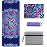 KUYOU Yoga Mat Foldable 1/16 Inch Thick Non-Slip Travel Yoga Mat Cover Pad Sweat Absorbent Soft Lightweight Exercise Workout