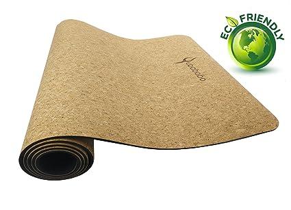 QUBABOBO Esterilla de Yoga TPE + Corcho Antideslizante para Pilates, Ejercicio, Fitness, Entrenamiento con Bolsa de Transporte y Correa 183 x 61cm 4mm ...