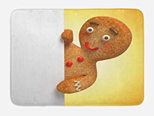 "Ambesonne Gingerbread Man Bath Mat, Gingerbread Man Holding a White Page Funny Xmas Character Print, Plush Bathroom Decor Mat with Non Slip Backing, 29.5"" X 17.5"", Sand Brown"