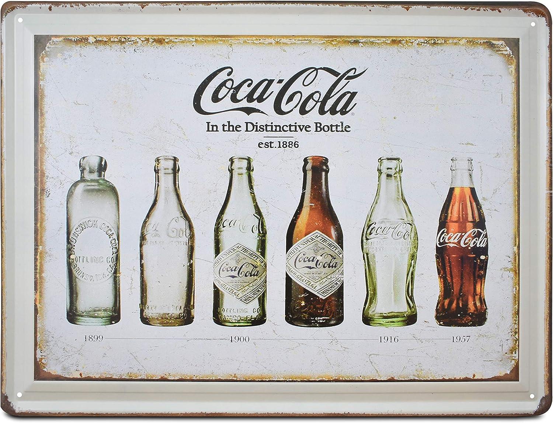 K&H Coke Bottle Evolution Retro Distressed Metal Tin Sign Posters Kitchen Café Diner Restaurant Wall Decor 12X16-Inch(Coke)