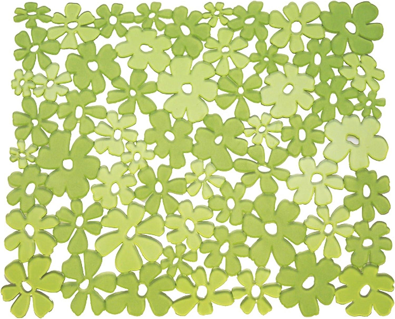 Tappetino proteggi lavandino di misura standard in plastica PVC InterDesign Blumz Tappetino lavello verde