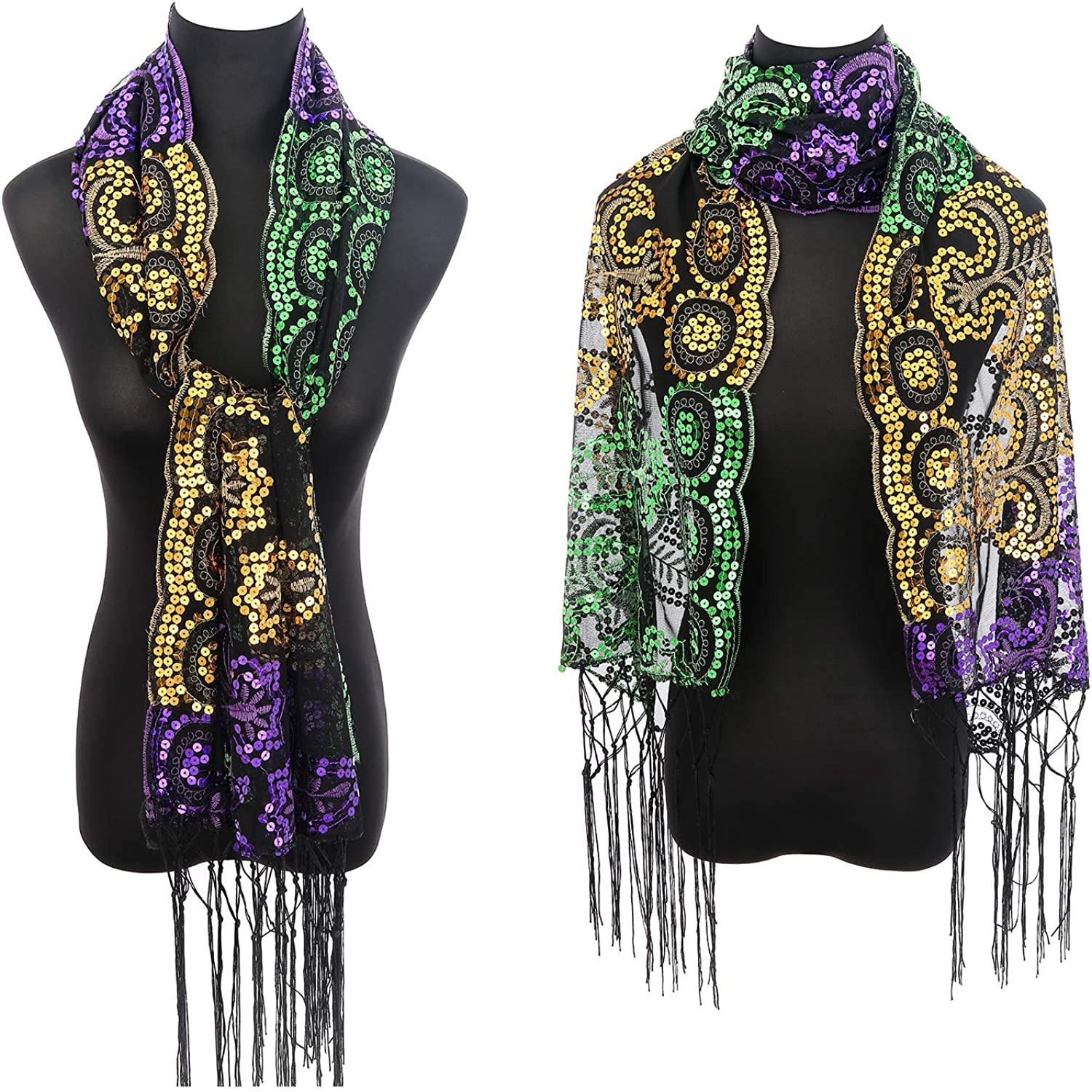 Mardi Gras Shawl Scarf Costume Accessories Set Decorations with Mardi Gras Headband and Earrings for Women