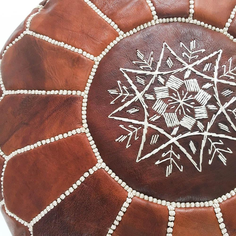 Genuine Goatskin leather Marrakesh Gallery Moroccan Pouf Includes Stuffing Instructions Hassock /& Ottoman Footstool Unstuffed Round /& Large Ottoman Pouf Bohemian Living Room Decor