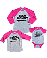 Footsteps Clothing Team Mommy and Mommy's Team Mother Daughter Baby Girl Baseball Shirts