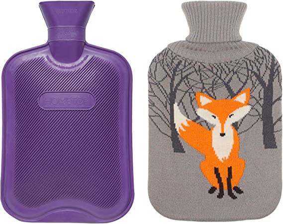 Lumanuby 1x Hello Fox Plush Cover Hot Water Bottle 0.75 L Rubber Warm Water Bag for Cold Days in Winter for Adults Children Relieves Stomach Pain Spasms 24 x 16.5 cm