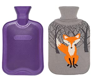Premium Classic Rubber Hot Water Bottle w/Cute Knit Cover (2 Liter, Purple/Gray with Fox)