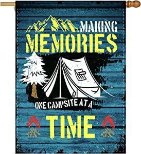 Rustic Camping Flag Making Memories Bonfire Tent Campfire Decorative Garden Flag Decor Banner for Outside - Inspirational Quote Campsite Flag Yard Outdoor Decoration 28 x 40 Inch(Double Sided)