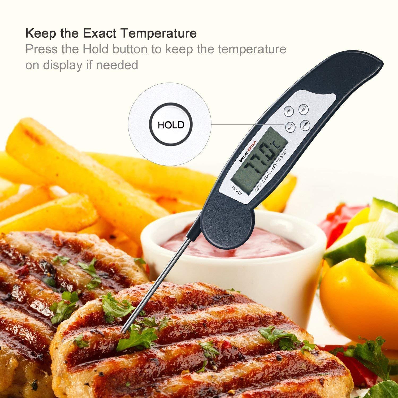 barbacoas y bebidas l/íquidas con calefacci/ón negro Term/ómetro de Cocina Digital Bonsenkitchen ST8731 gran pantalla LCD digital Term/ómetro de Carne de lectura instant/ánea para asados