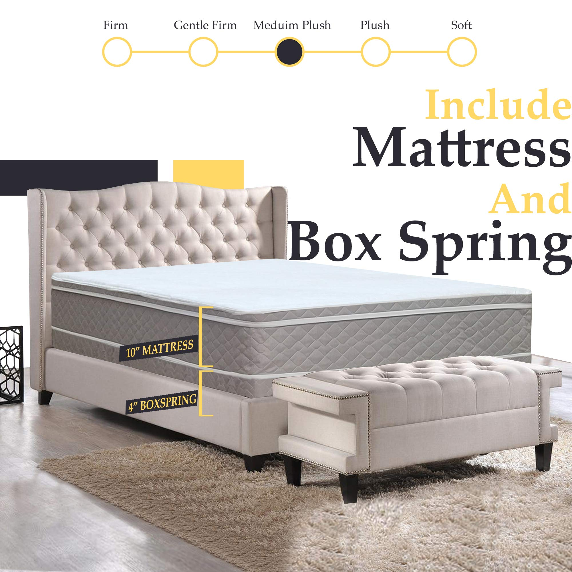10-Inch Medium Plush Eurotop Pillowtop Innerspring Mattress And 4-Inch Fully Assembled Wood Boxspring /Foundation Set, by Nutan