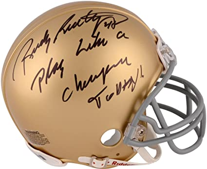 "2052578f1a9 Rudy Ruettiger Notre Dame Fighting Irish Autographed Riddell Mini Helmet  with""Play Like A Champion"
