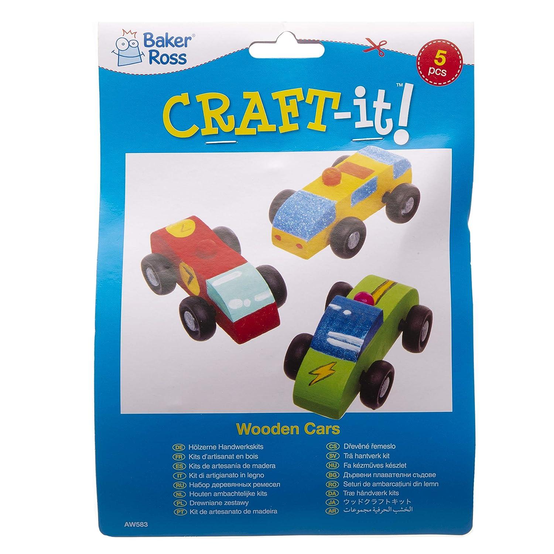 Actividad de manualidades infantiles para decorar y jugar Baker Ross Kit de coches hechos de madera Pack de 5