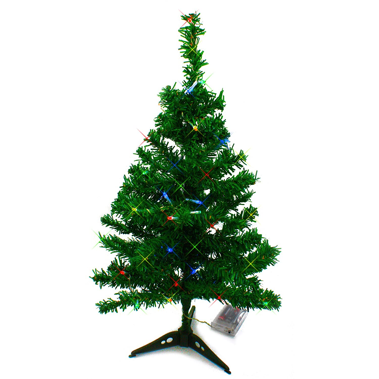 Amazon.com: Wideskall Tabletop Green Christmas Pine Tree with Multi ...