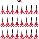 Kids Pointed Tip School Scissors - 24 Pack of Children's Scissors with 5 Inch Stainless Steel Blades & Soft Handles for Right Handed & Left Handed Perfect for Any Art and Craft Project