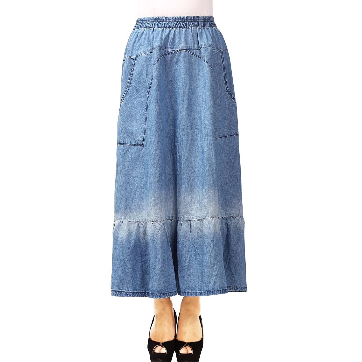 NONOSIZE Women's Ankle Length Casual Elastic Waist Blue Long Straight Skirt Denim with Pockets (S, Blue UL3257)
