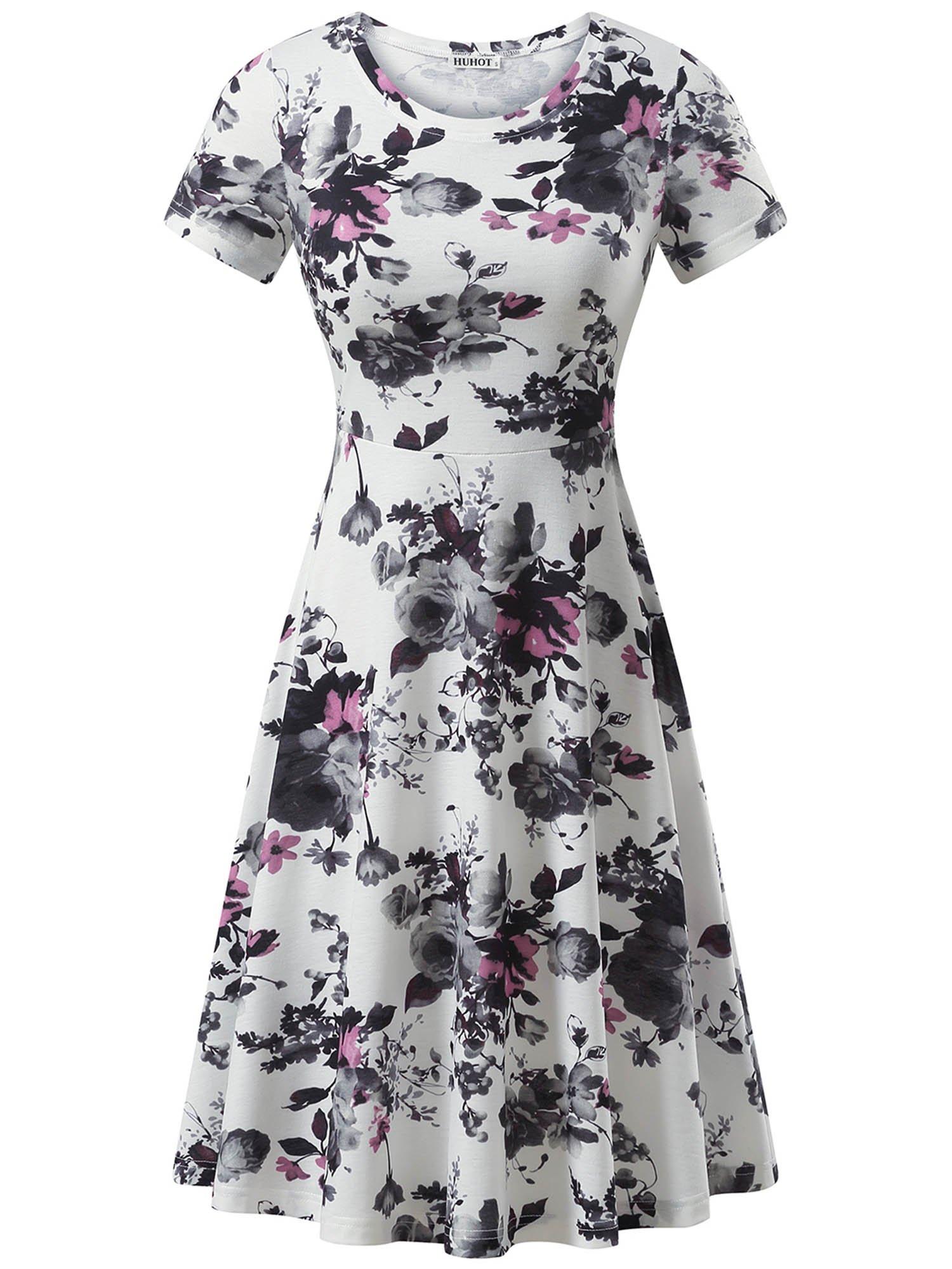HUHOT Fall Dresses Short Sleeve Round Neck Casual Flared Midi Dress Modest (Large, Print18)