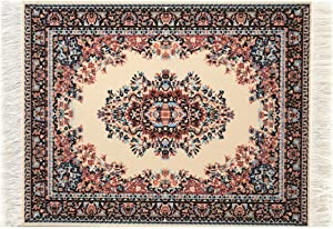 Computer Carpet Mouse Pad | Oriental Style Rug Mouse Mat (Beige)