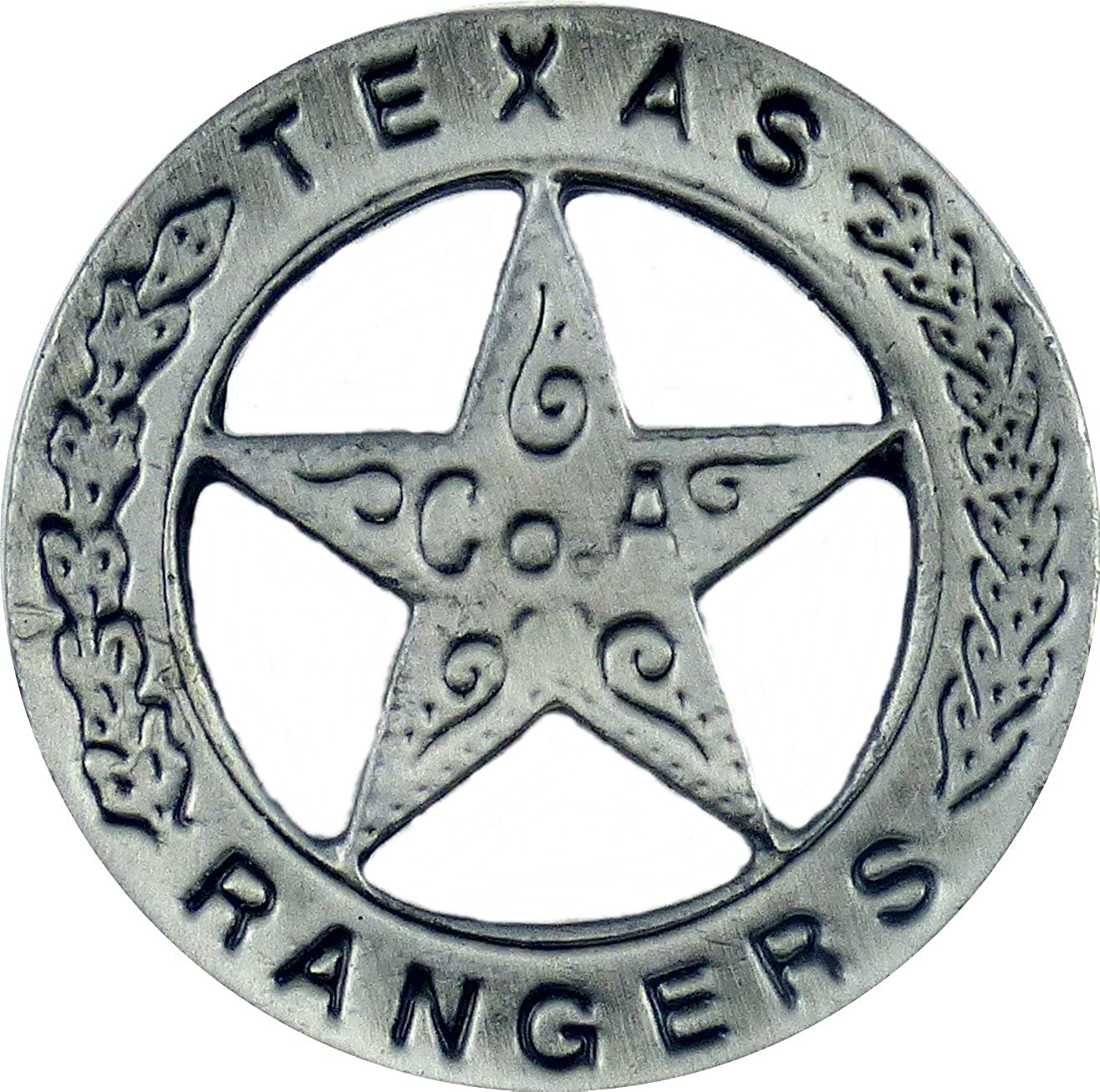 Pin badge Button Texas Rangers CoA Cowboy Western Sheriff star AW-Collection