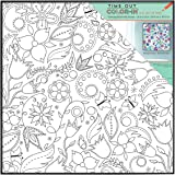 MCS Time Out Color In 12x12 Inch Framed Adult Coloring Page With Floral Whimsy