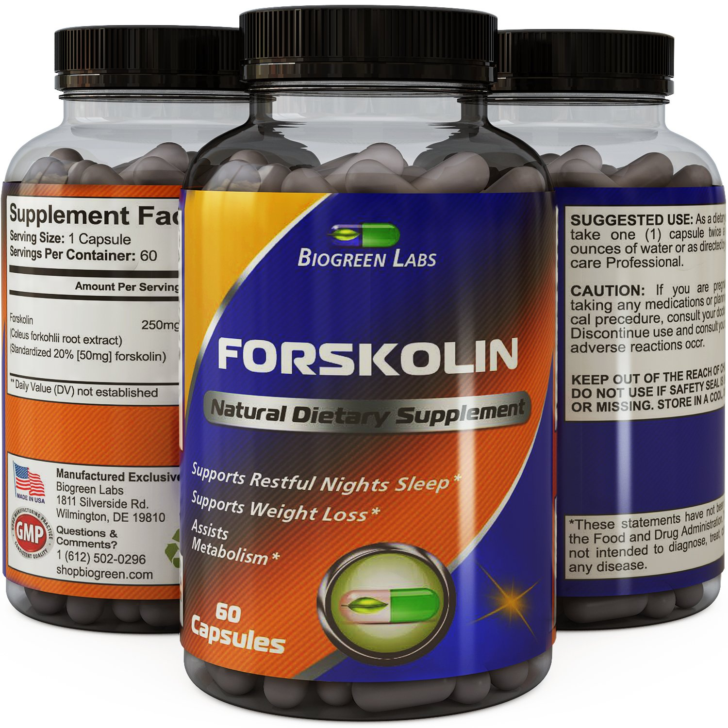 Potent Forskolin For Weight Loss - Pure Forskolin Root Extract Supplement - Burn Belly Fat + Support Energy Levels - Natural Coleus Forskohlii Weight Loss Pills For Men & Women By Biogreen Labs