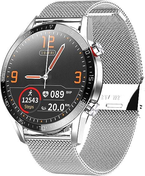 Smartwatch, Reloj Inteligente Impermeable IP68 Pulsera Actividad Hombre Mujer, Inteligente Reloj Deportivo Reloj Fitness con Pantalla Táctil Completa Pulsómetro Cronómetros per iOS Android (Plata): Amazon.es: Electrónica