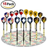 ZesGood 15 Packs Steel Tip Darts 18 Grams with an Extra Round Dart Sharpener & 6 Extra Flights, Aluminum Shafts and Brass Barrels, Perfect for All Levels in Every Rec Room, Man Cave, Bar and Game Room