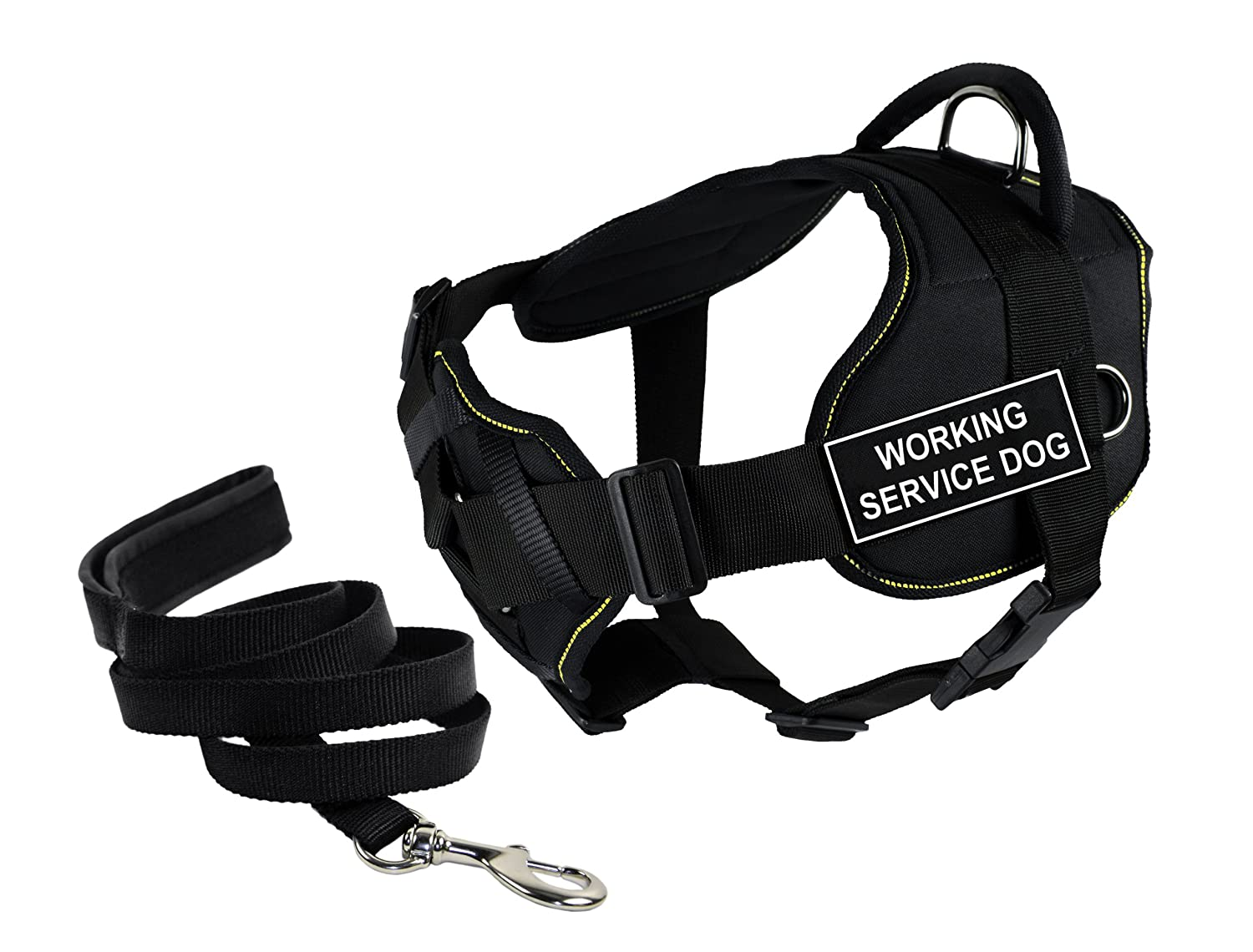 Dean & Tyler's DT Fun Chest Support Working Service Dog  Harness, Large, with 6 ft Padded Puppy Leash.