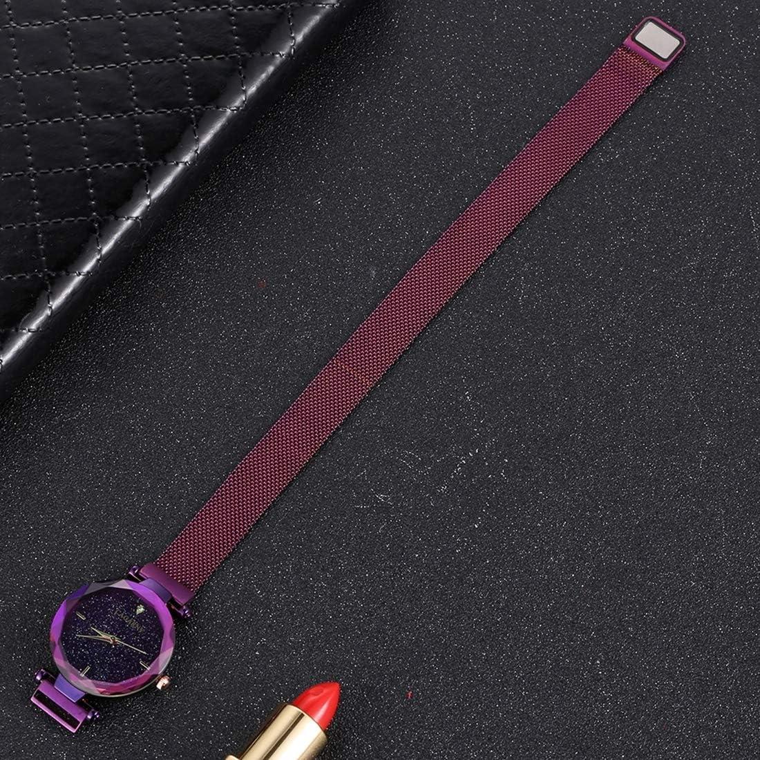 Montres Hommes, CAGARNY 6877 Montre-Bracelet à Quartz Bracelet en Acier Inoxydable Violet