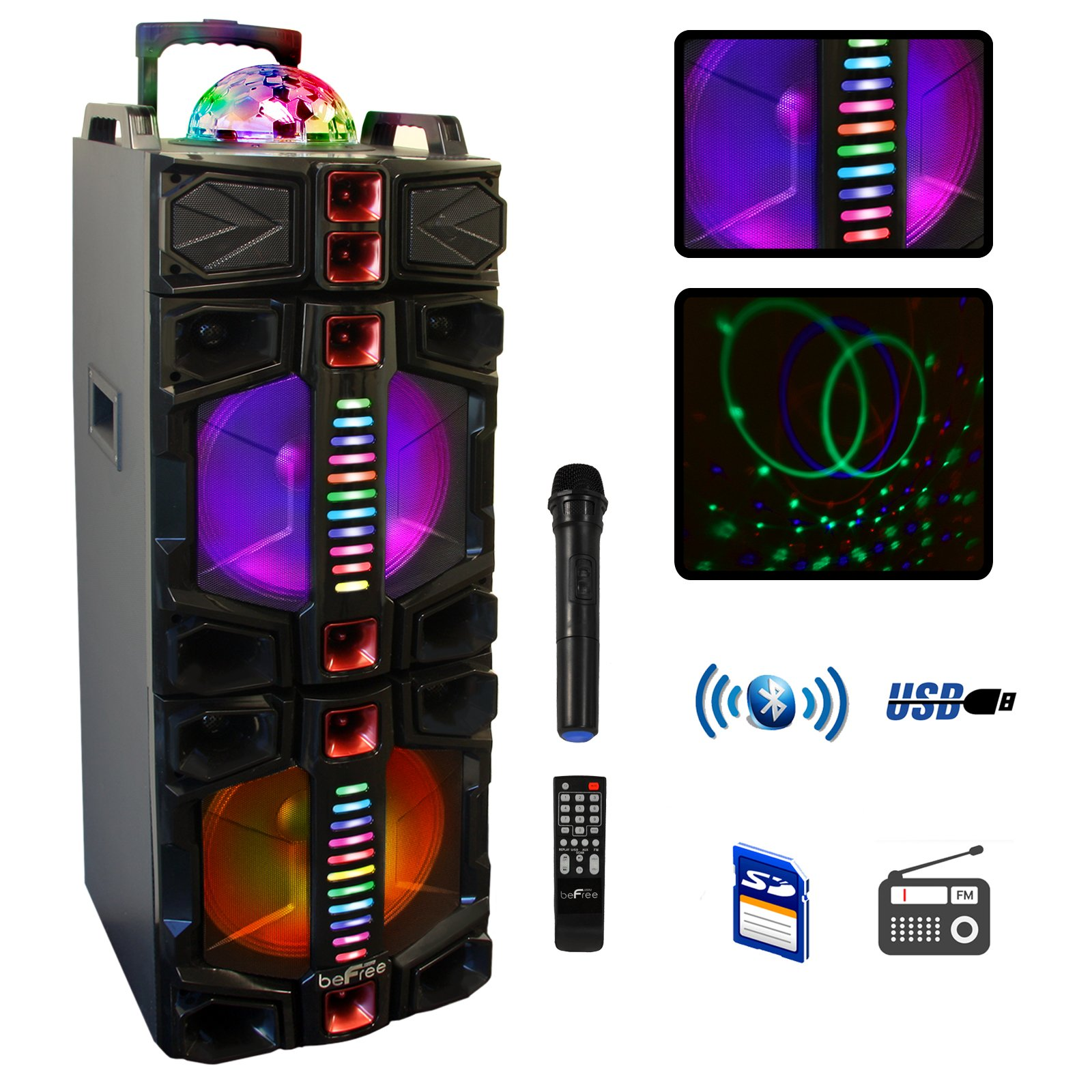 BeFree Sound Dual 12 Inch Subwoofer Bluetooth Portable Party Speaker With LED Lights, USB/ SD Input, Fm Radio, Remote Control And Wireless Microphone