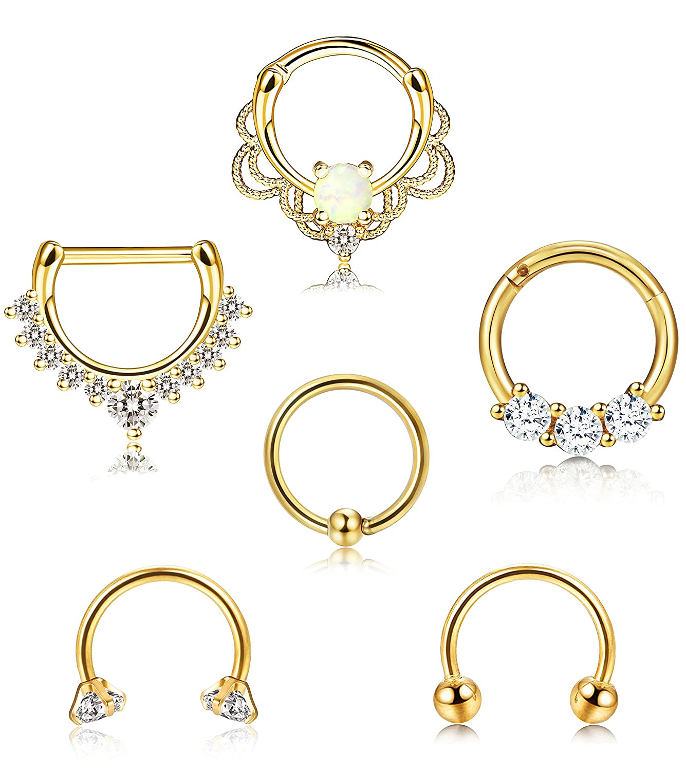 ORAZIO 6PCS 16G 316L Stainless Steel Septum Hoop Nose Ring 8MM Horseshoe Rings Cartilage Clicker Piercing Jewelry 3 Colors CC44-6S